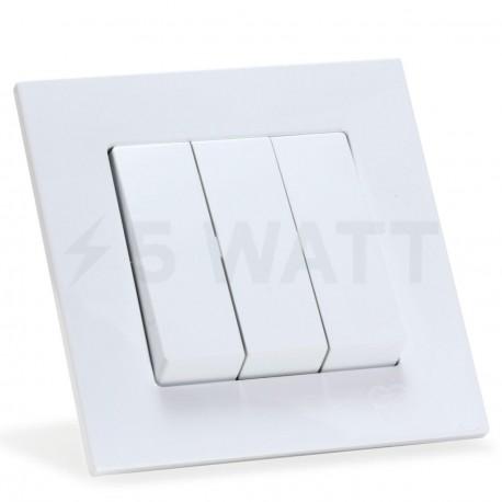 Выключатель трёхклавишный Gunsan Eqona белый (1401100100160) - купить
