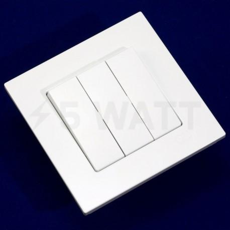 Вимикач трёхклавішний Gunsan Eqona білий (1401100100160) - недорого