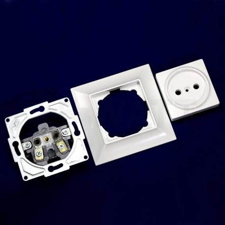 Електрична одинарна розетка Gunsan Neoline біла, без заземлення (1421100100113) - магазин світлодіодної LED продукції