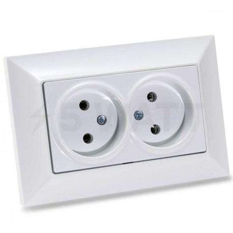 Электрическая двойная розетка Gunsan Neoline белая, без заземления (1421100100149) - купить