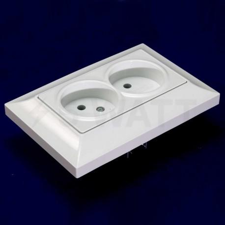Електрична подвійна розетка Gunsan Neoline біла, без заземлення (1421100100149) - недорого