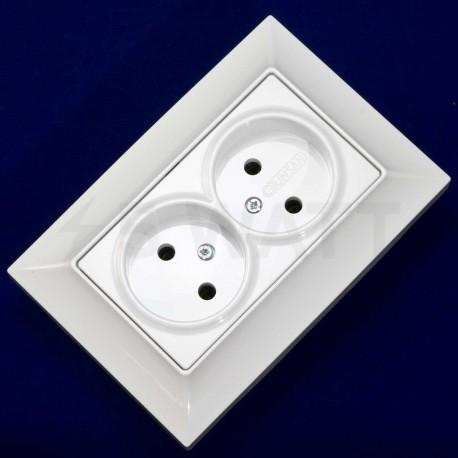 Электрическая двойная розетка Gunsan Neoline белая, без заземления (1421100100149) - магазин светодиодной LED продукции