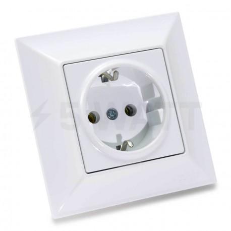 Электрическая одинарная розетка Gunsan Neoline белая, c заземлением (1421100100115)