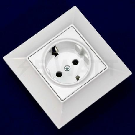 Електрична одинарна розетка Gunsan Neoline біла, c заземлением (1421100100115) - недорого