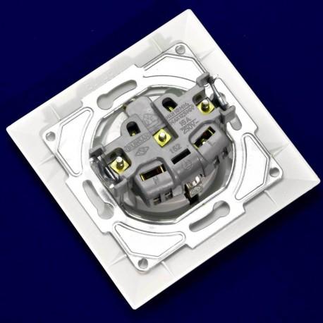 Електрична одинарна розетка Gunsan Neoline біла, c заземлением (1421100100115) - в інтернет-магазині