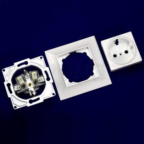 Электрическая одинарная розетка Gunsan Neoline белая, c заземлением (1421100100115) - магазин светодиодной LED продукции