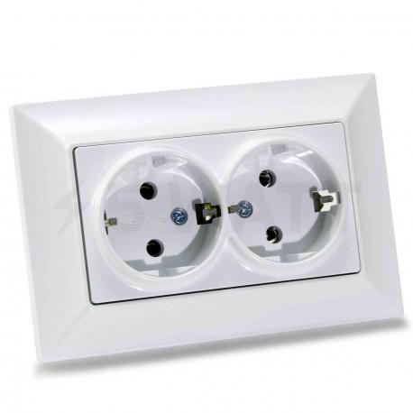 Электрическая двойная розетка Gunsan Neoline белая, с заземлением (1421100100150)