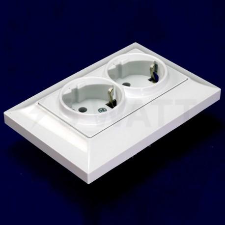 Електрична подвійна розетка Gunsan Neoline біла, із заземленням (1421100100150) - недорого