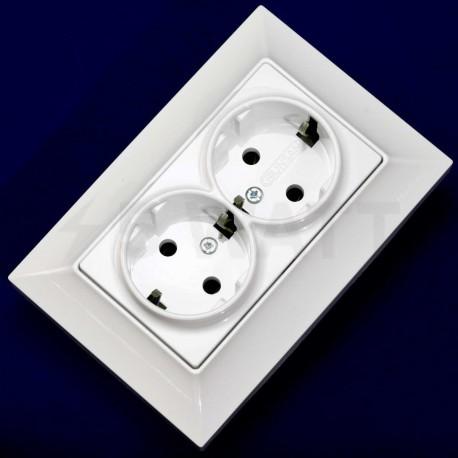 Електрична подвійна розетка Gunsan Neoline біла, із заземленням (1421100100150) - магазин світлодіодної LED продукції