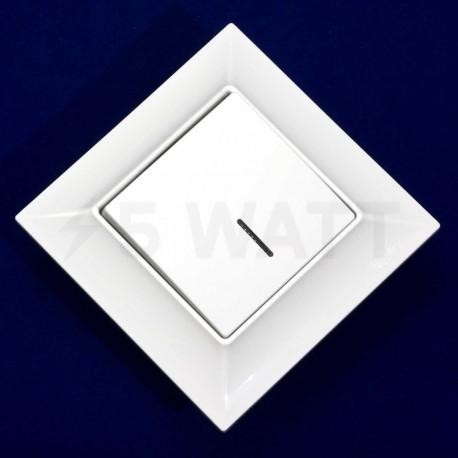 Вимикач одноклавішний Gunsan Neoline білий, з підсвічуванням (1421100100102) - магазин світлодіодної LED продукції
