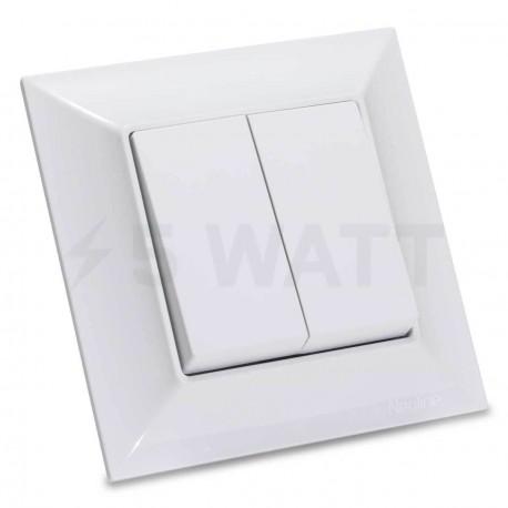 Выключатель двухклавишный Gunsan Neoline белый (1421100100103) - купить