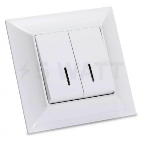 Выключатель двухклавишный Gunsan Neoline белый, с подсветкой (1421100100104) - купить