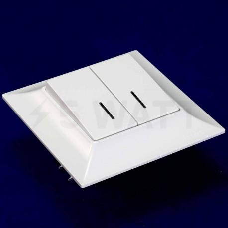Выключатель двухклавишный Gunsan Neoline белый, с подсветкой (1421100100104) - недорого