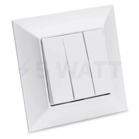 Выключатель трёхклавишный Gunsan Neoline белый (1421100100160) - купить