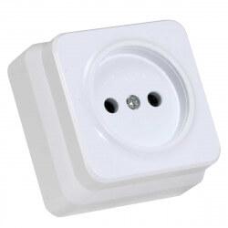 Электрическая одинарная розетка Gunsan Misya наружная белая, без заземления (1051100100113)