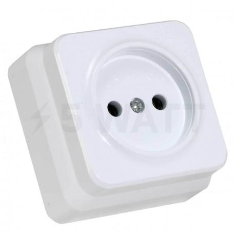 Електрична одинарна розетка Gunsan Misya зовнішня біла, без заземлення (1051100100113) - придбати
