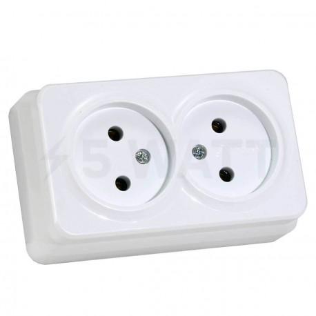 Электрическая двойная розетка Gunsan Misya наружная белая, без заземления (1051100100149)