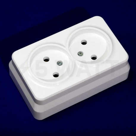 Електрична подвійна розетка Gunsan Misya зовнішня біла, без заземлення (1051100100149) - недорого