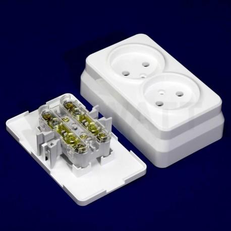 Электрическая двойная розетка Gunsan Misya наружная белая, без заземления (1051100100149) - в Украине