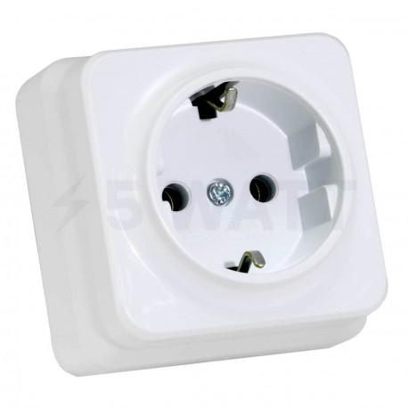 Электрическая одинарная розетка Gunsan Misya наружная белая, с заземлением (1051100100115)
