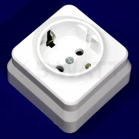 Электрическая одинарная розетка Gunsan Misya наружная белая, с заземлением (1051100100115) - недорого