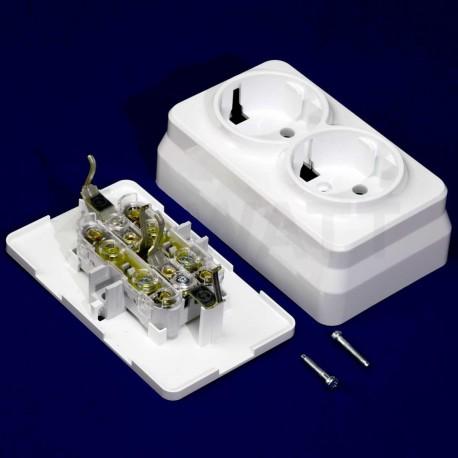 Електрична подвійна розетка Gunsan Misya зовнішня біла, із заземленням (1051100100150) - в Україні