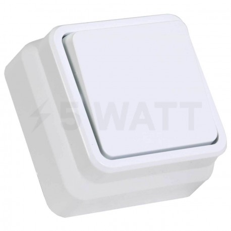 Вимикач одноклавішний Gunsan Misya зовнішній білий (1051100100101) - придбати