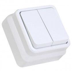 Выключатель двухклавишный Gunsan Misya наружный белый (1051100100103)