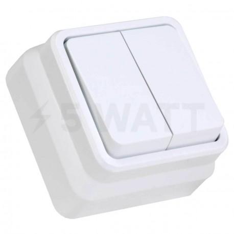 Выключатель двухклавишный Gunsan Misya наружный белый (1051100100103) - купить