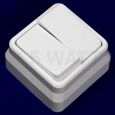 Выключатель двухклавишный Gunsan Misya наружный белый (1051100100103) - недорого