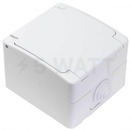 Электрическая одинарная розетка Gunsan Nemli влагозащищённая белая, с заземлением (1071100100117) - купить