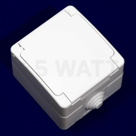 Электрическая одинарная розетка Gunsan Nemli влагозащищённая белая, с заземлением (1071100100117) - недорого