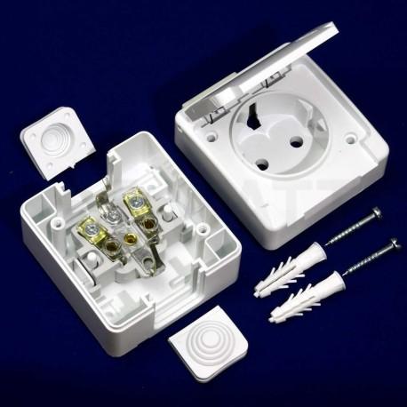 Электрическая одинарная розетка Gunsan Nemli влагозащищённая белая, с заземлением (1071100100117) - в интернет-магазине