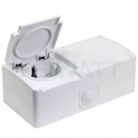 Электрическая двойная розетка Gunsan Nemli влагозащищённая белая, с заземлением (1071100100195) - купить