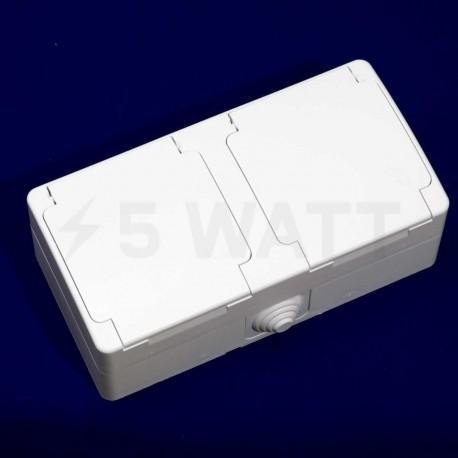 Электрическая двойная розетка Gunsan Nemli влагозащищённая белая, с заземлением (1071100100195) - недорого