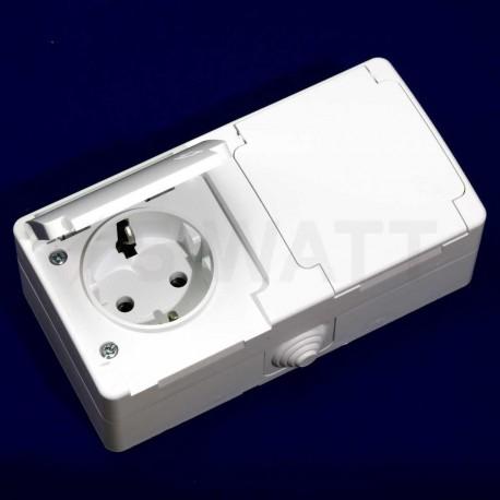 Электрическая двойная розетка Gunsan Nemli влагозащищённая белая, с заземлением (1071100100195) - в Украине