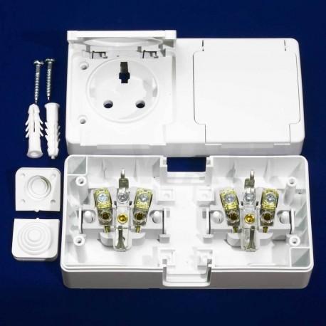 Электрическая двойная розетка Gunsan Nemli влагозащищённая белая, с заземлением (1071100100195) - в интернет-магазине