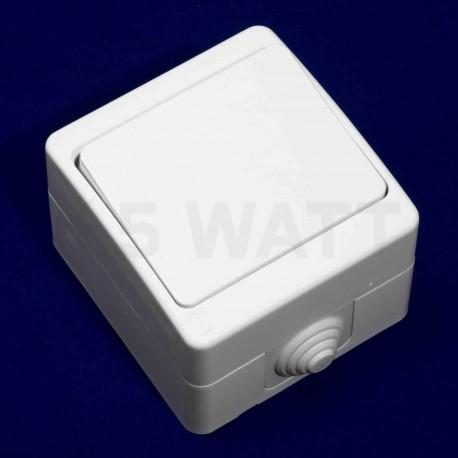 Выключатель одноклавишный Gunsan Nemli влагозащищённый белый (1071100100101) - недорого