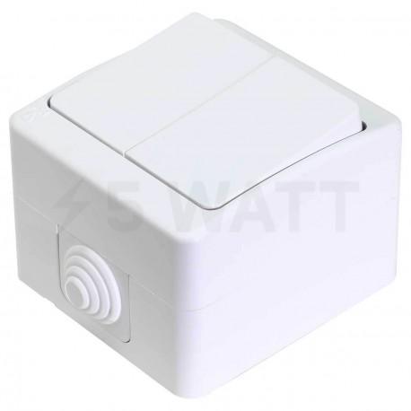 Выключатель двухклавишный Gunsan Nemli влагозащищённый белый (1071100100103) - купить