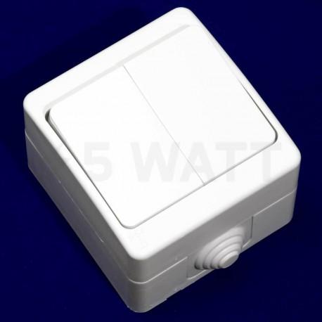 Выключатель двухклавишный Gunsan Nemli влагозащищённый белый (1071100100103) - недорого