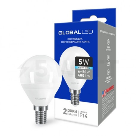 LED лампа GLOBAL G45 F 5W 4100К 220V E14 AP (1-GBL-144) - купить