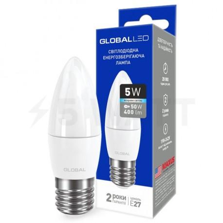 LED лампа GLOBAL C37 CL-F 5W 4100К 220V E27 AP (1-GBL-132)