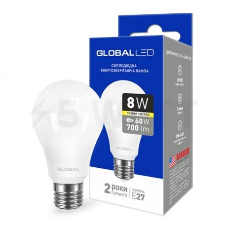 LED лампа GLOBAL A60 8W 3000К 220V E27 AL (1-GBL-161) - придбати