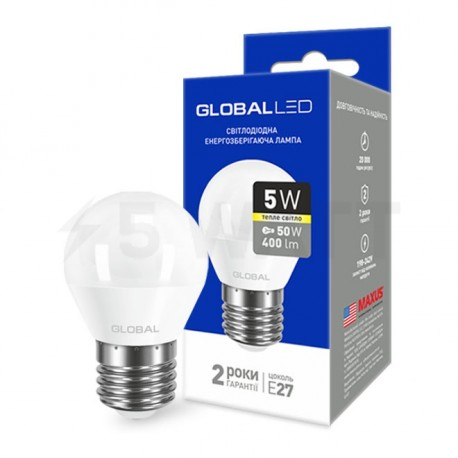 LED лампа GLOBAL G45 F 5W 3000К 220V E27 AP (1-GBL-141)