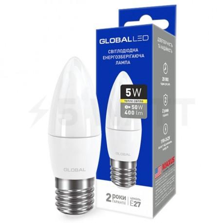 LED лампа GLOBAL C37 CL-F 5W 3000К 220V E27 AP (1-GBL-131) - придбати