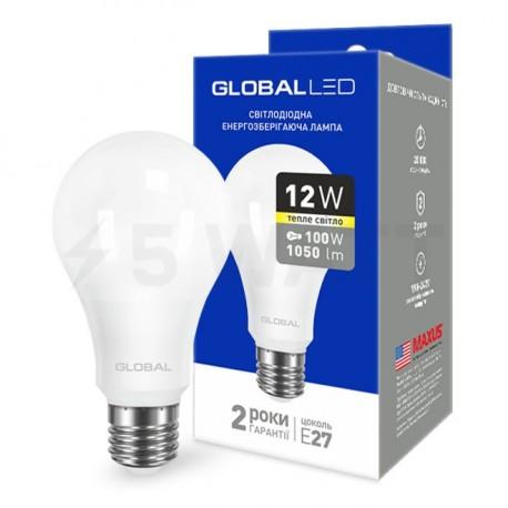 LED лампа GLOBAL A60 12W 3000К 220V E27 AL (1-GBL-165) - придбати