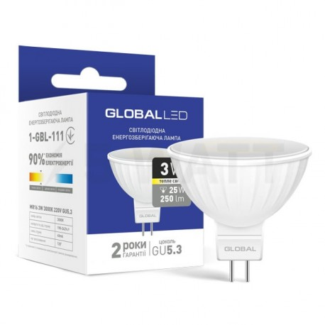 LED лампа GLOBAL MR16 3W 3000К 220V GU5.3 (1-GBL-111)