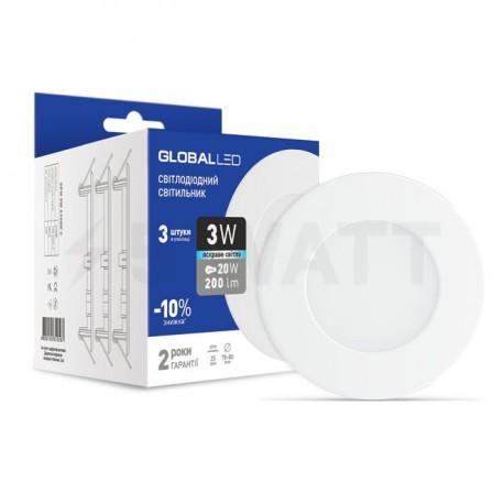 Набор светильников GLOBAL LED SPN 3W 4100К 3 шт. (3-SPN-002-C) - недорого