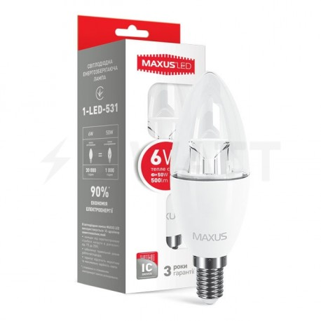 LED лампа MAXUS C37 6W 3000К 220V E14 (1-LED-531) - придбати