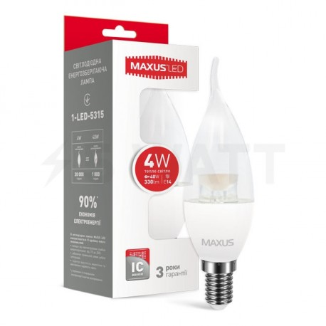 LED лампа MAXUS C37 CL-T 4W 3000К 220V E14 (1-LED-5315) - купить